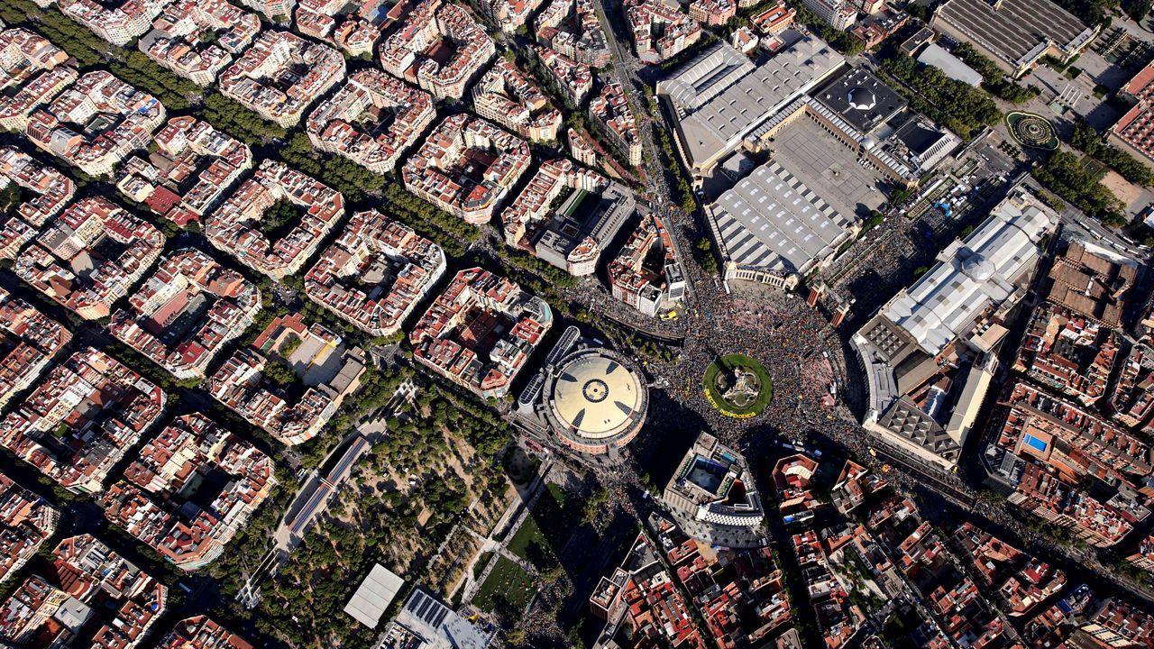 Vista aérea de la plaza de España de Barcelona, epicentro de la Diada 2019, que registró la menor participación desde el 2012