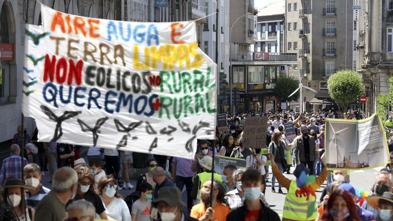 Manifestación convocada por colectivos y plataformas sociales, vecinales y ecologistas bajo el lema  Eólicos, así non .