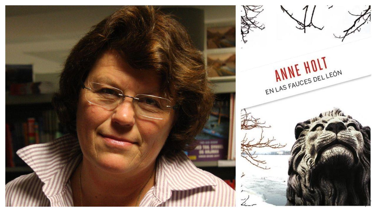 Retrato de la escritora noruega Anne Holt, autora de «En las fauces del león». A la derecha, portada del libro de la colección de intriga que promueve La Voz
