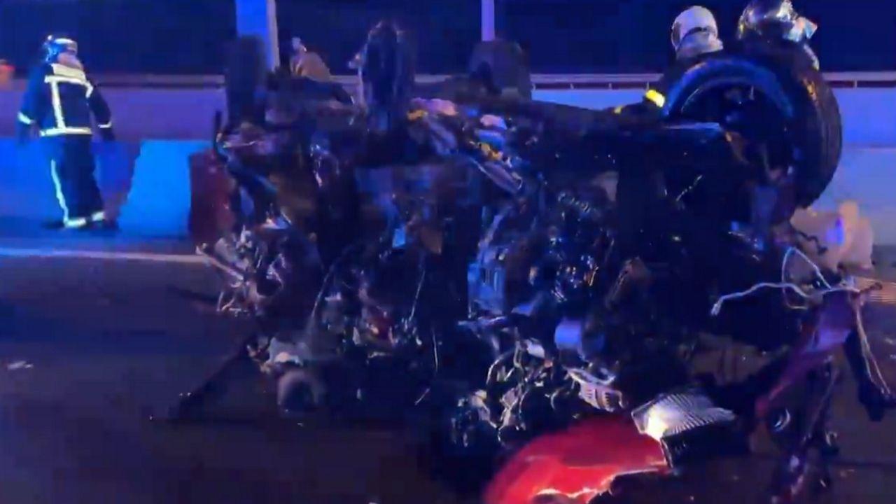 Atropello mortal en la recta de Rus.Imagen de un vídeo del servicio de emergencias de Madrid