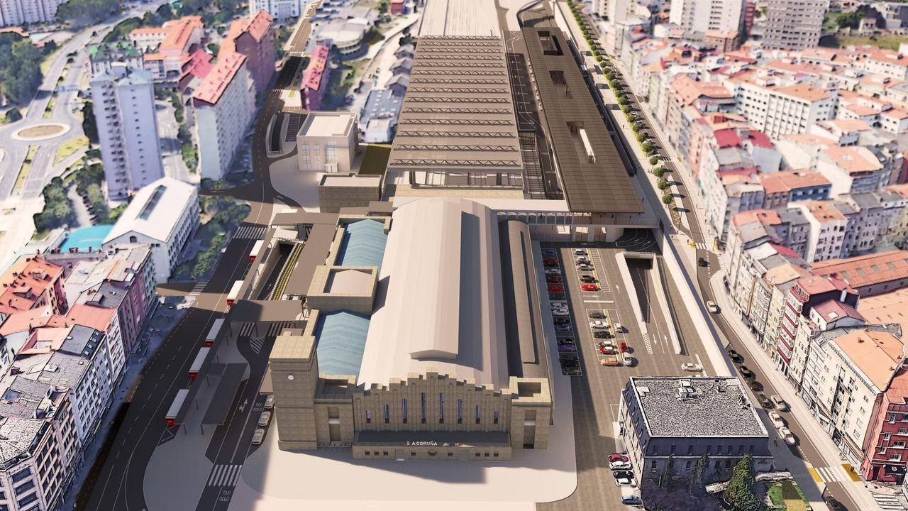 Recreación de la futura estación intermodal de A Coruña