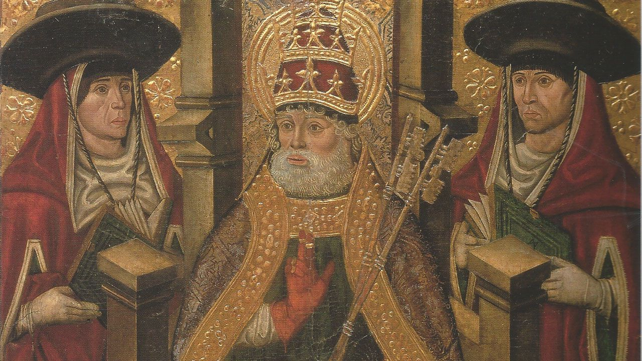 Fragmento de «San Pedro entronizado», de Juan de la Abadía
