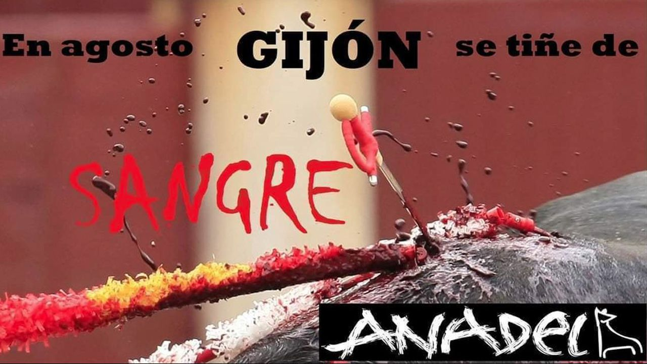 Manifestación antitaurina organizada por Anadel en Gijón