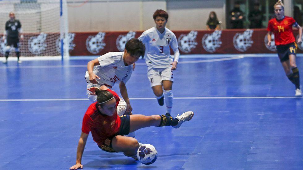 Partido de futbol sala femenino entre la selección española y la de Japón