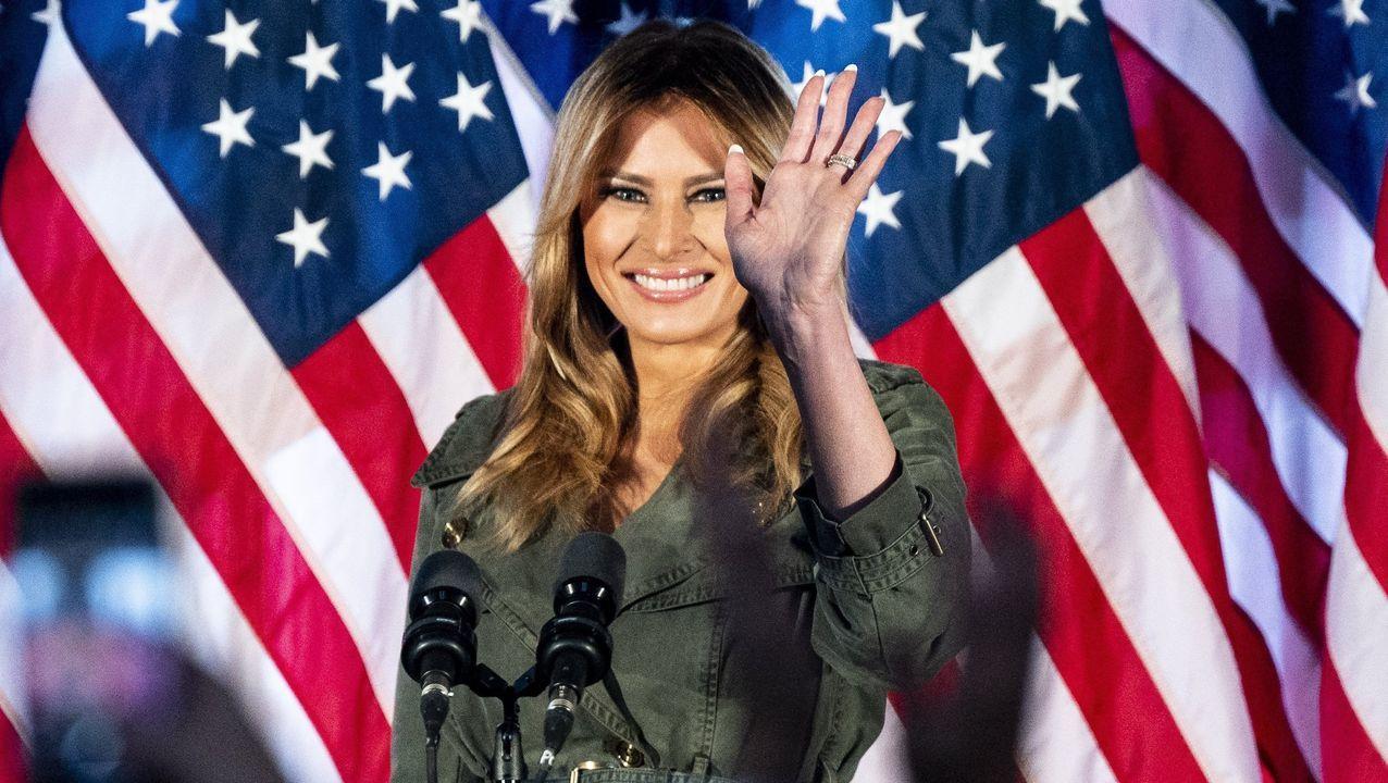 Melania Trump, este miércoles, durante un acto de apoyo a la campaña de reelección de su marido