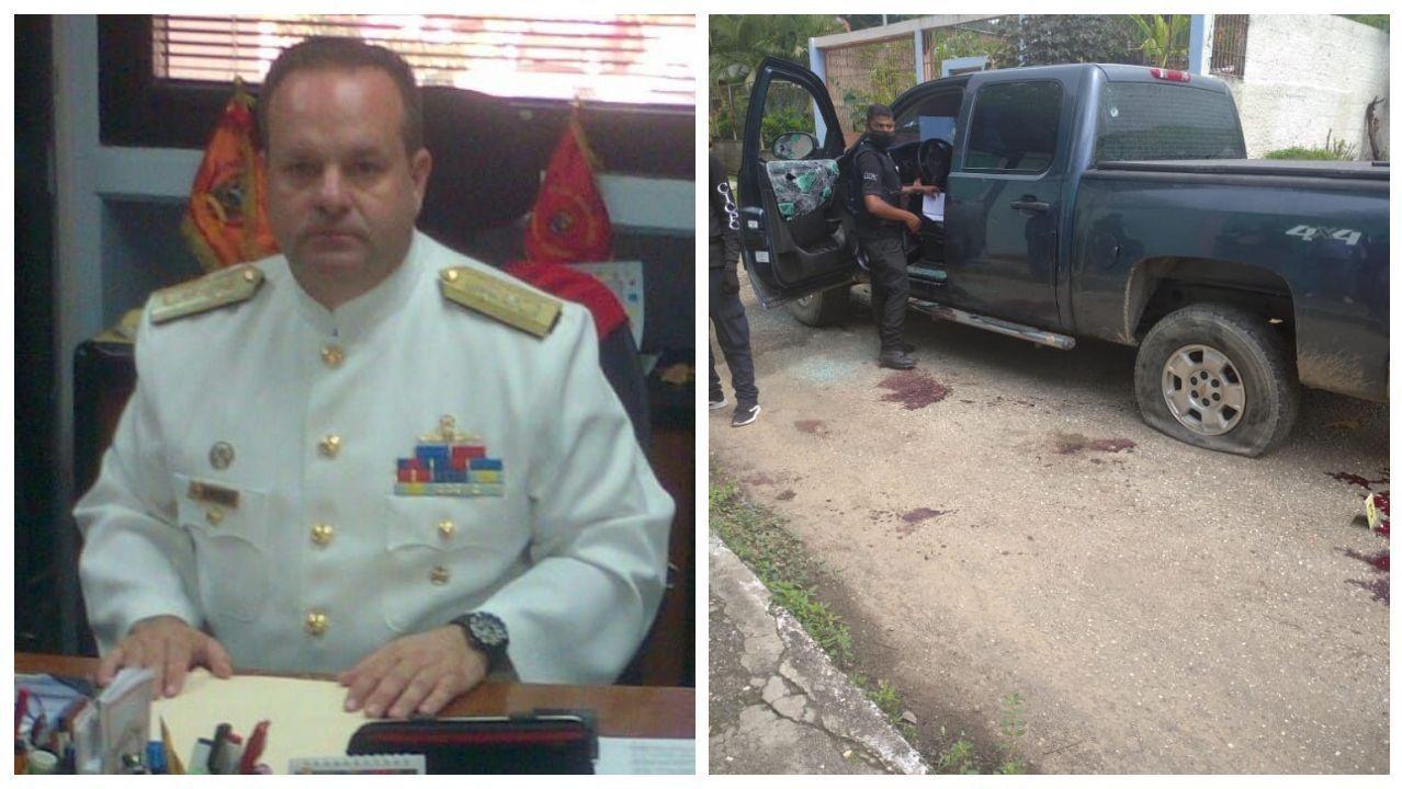 Viberto Quinteiro era almirante. Al lado, estado en el quedó su vehículo tras el tiroteo