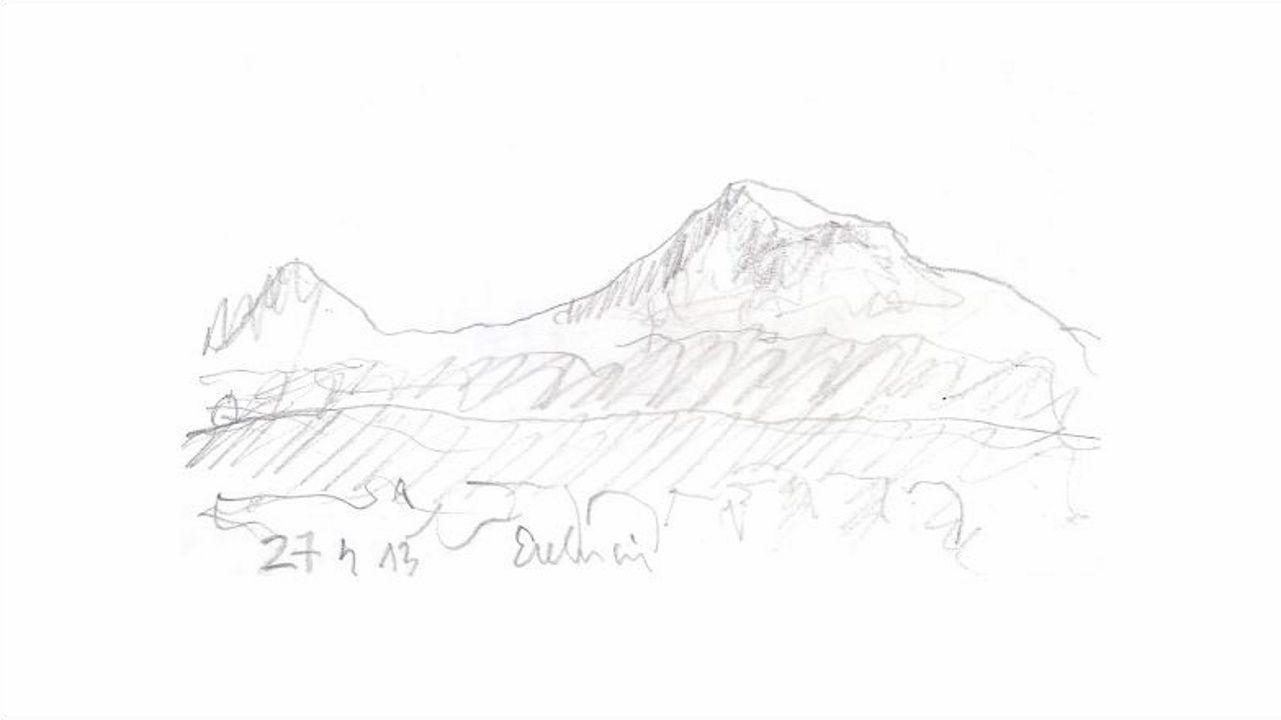 Dibujo del monte Ararat desde la fortaleza de Erebuni, en Erevan (Armenia), realizado por el arquitecto y profesor de la UDC Felipe Peña en abril del 2013