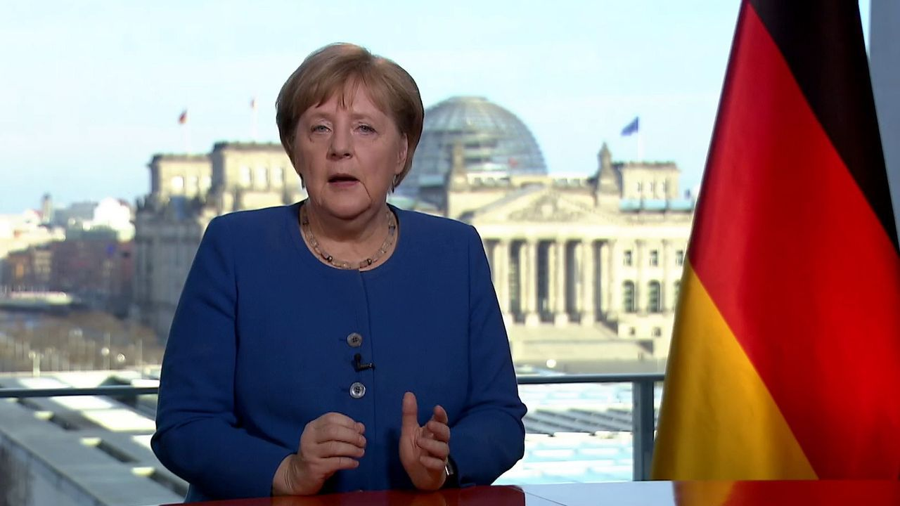 Angela Merkel, durante su discurso televisado sobre el coronavirus