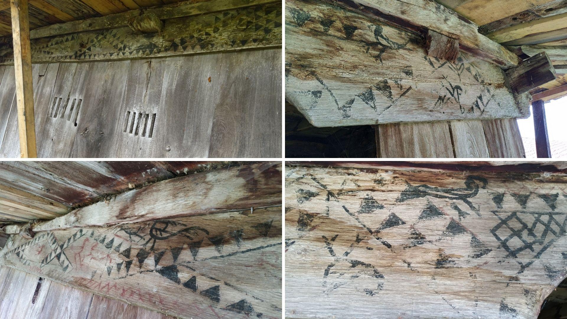 Cuatro detalles de las pinturas de este destacado horro de estilo Villaviciosa