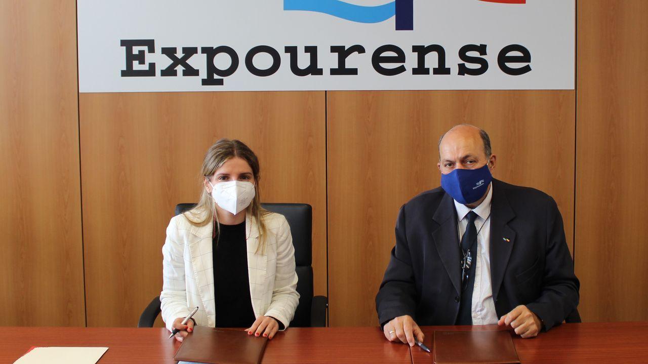 Lara da Silva, presidenta del Consello Regulador de Monterrei, y Rogelio Martínez, gerente de Expourense