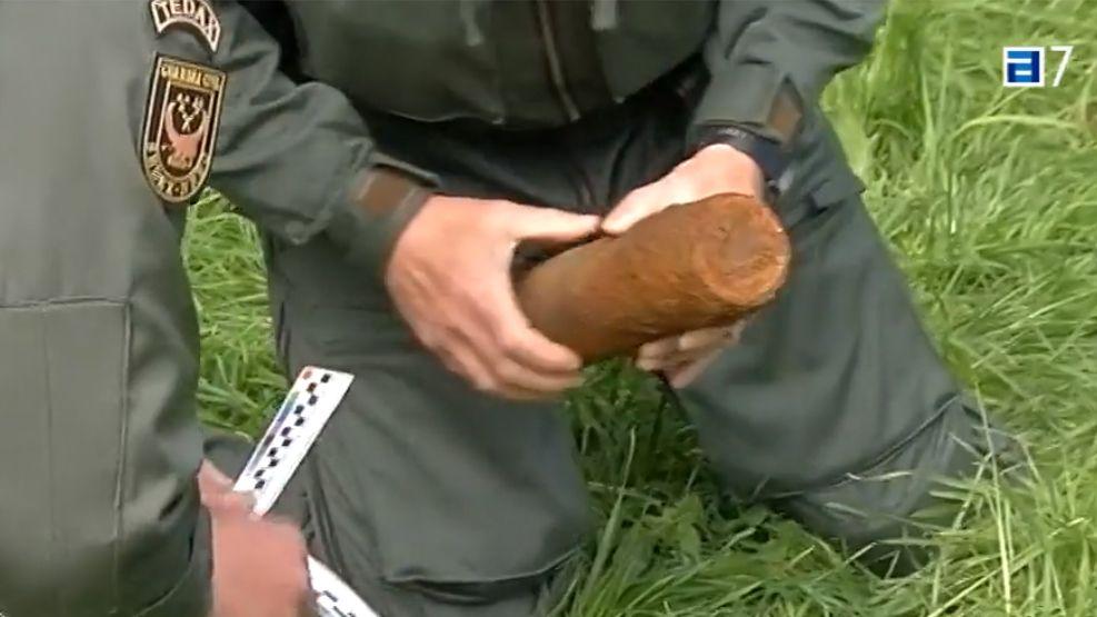 Proyectil de la Guerra Civil hallado en Poo, Llanes