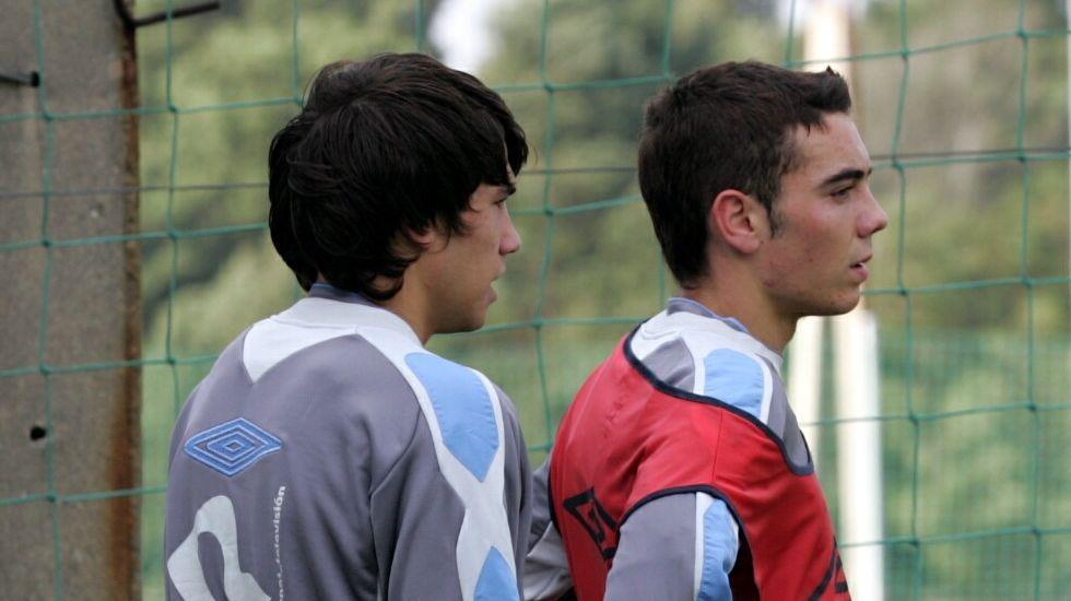 En un entrenamiento del primer equipo con Dani Abalo en el 2009