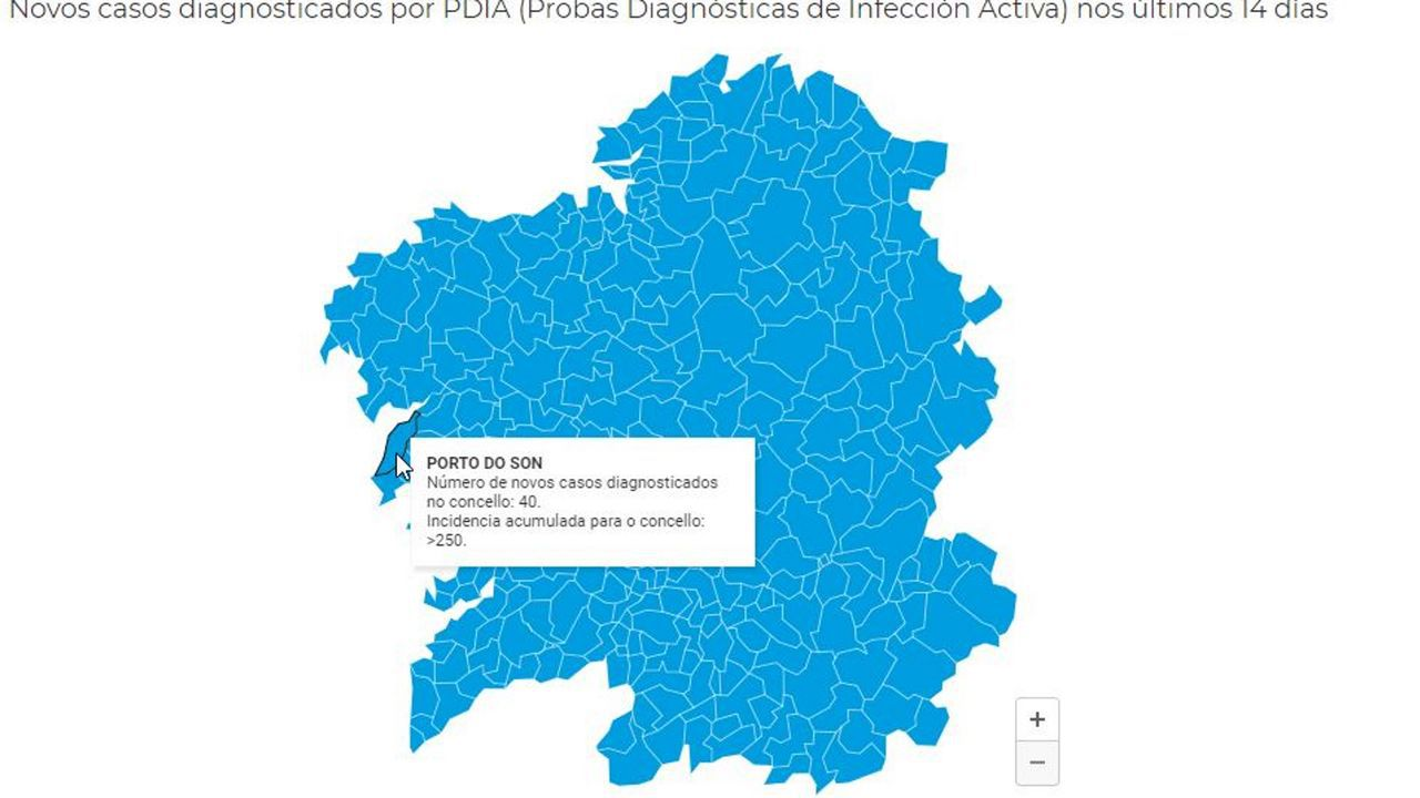El mapa de Sanidade informa de los casos descubiertos en los últimos 14 días en cada municipio