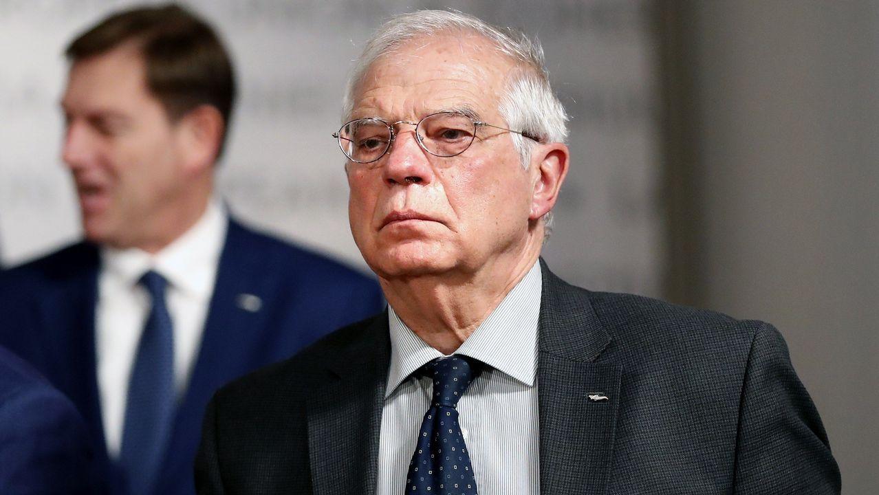 Josep Borrell, durante la reunión de ministros de Exteriores de la UE en Bucarest (Rumanía)