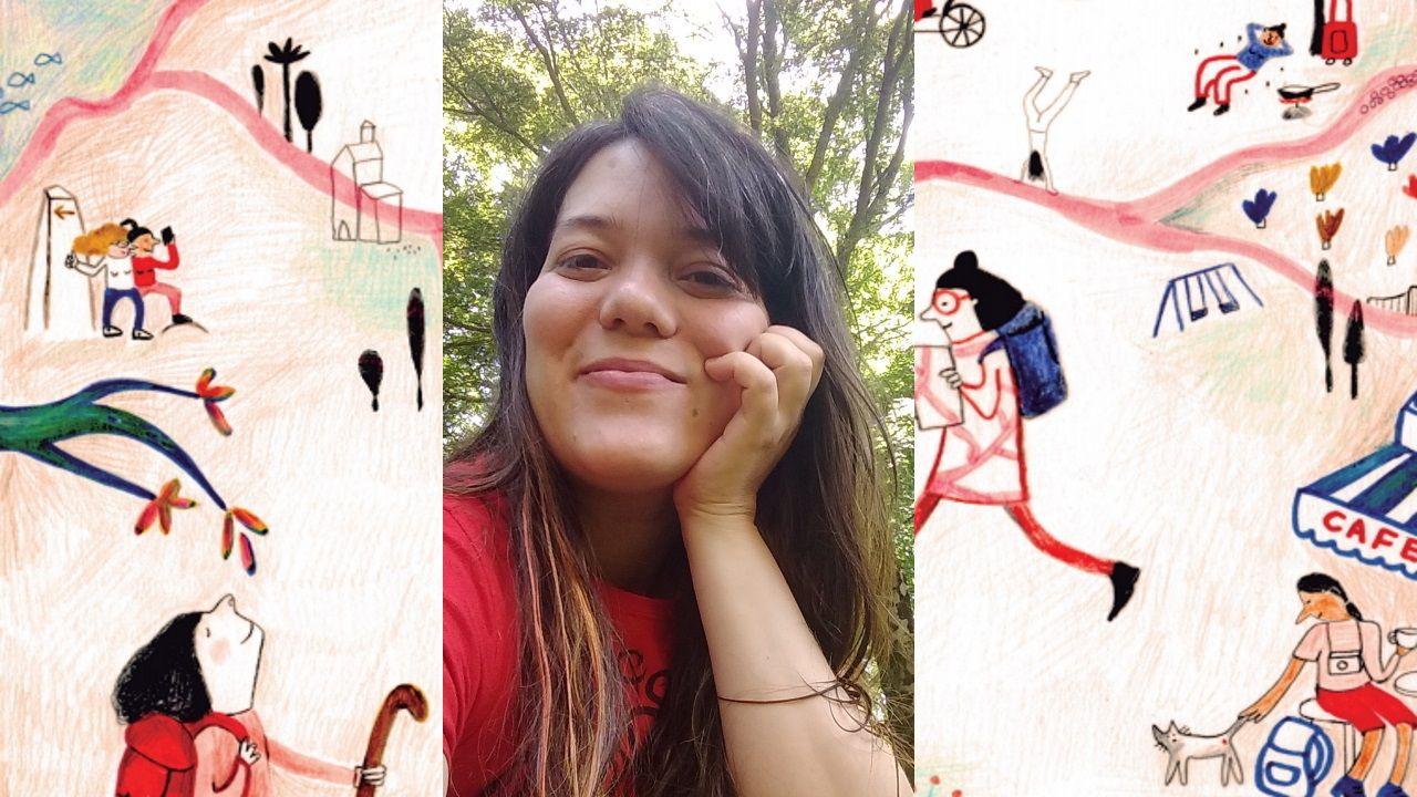 Sabela Losada Cortizas, autora de «O Camiño das mulleres», con la capa del libro de fondo