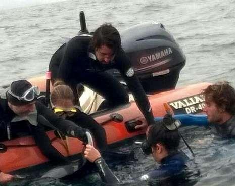 «Raciño» se despide de Galicia.Imagen de la foca en Suevos captada por un aficionado.