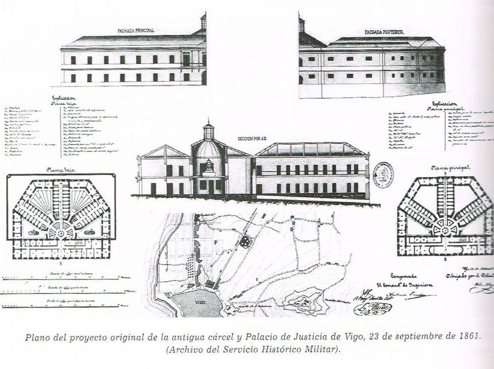 El temporal provoca inundaciones por Vigo y su área.Planos y alzados del Palacio de Justicia donde hoy está el Marco.
