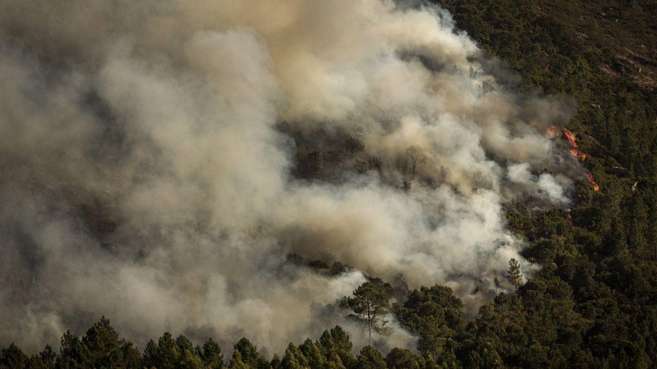 Trabajadores de Alcoa en Burela.Incendio de Lobios el pasado 14 de septiembre