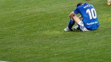 Borja Sanchez Real Oviedo Deportiva Ponferradina Segunda Division.Borja Sánchez se lamenta sobre el terreno de juego