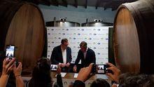 Firma del convenio de colaboración entre el consejo regulador de la Denominación de Origen Protegida Sidra de Asturias y los centros comerciales Carrefour