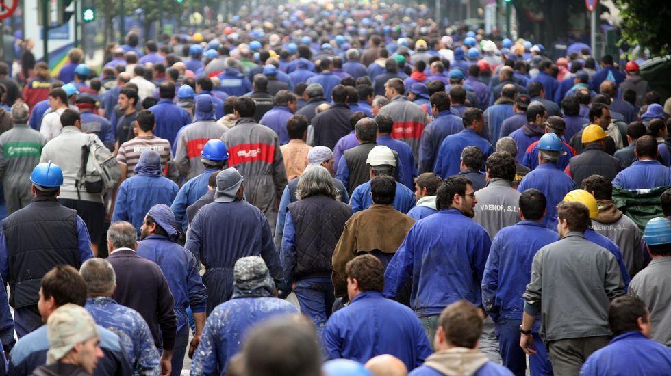 Marcha de los trabajadores de Alcoa en defensa del futuro de la planta de Avilés.Marcha de los trabajadores de Alcoa en defensa del futuro de la planta de Avilés en el año 2014