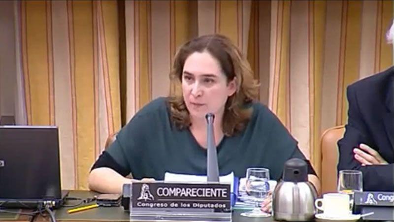 Comparecencia de Ada Colau en el Congreso.Los partidarios de la inicativa en el Congreso