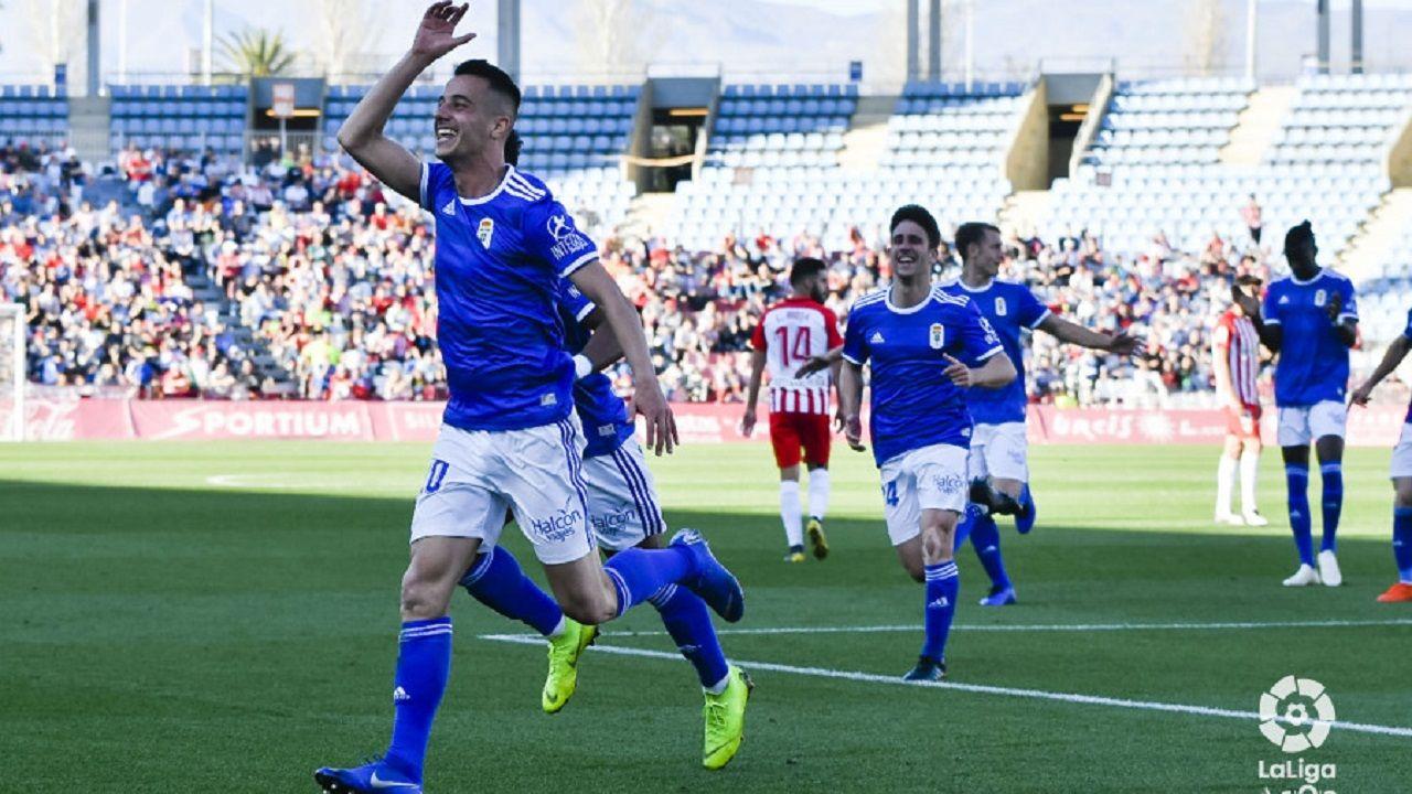 Tejera celebra su gol ante el Almería