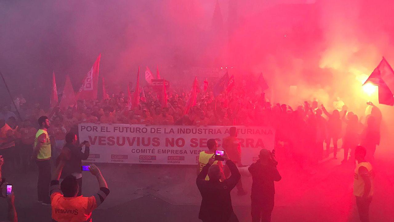 Langreo.Manifestación de los trabajadores de Vesuvius en Langreo