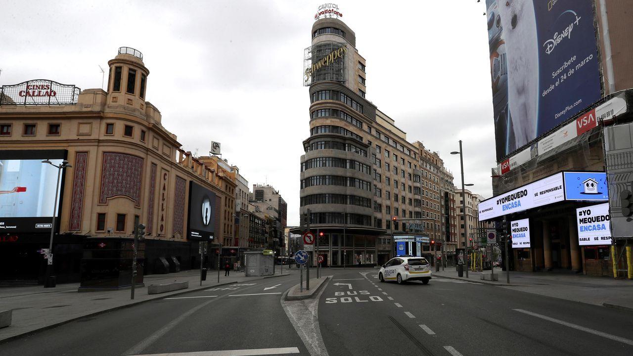 Plaza de Callao, en Madrid, sin tráfico ni viandantes