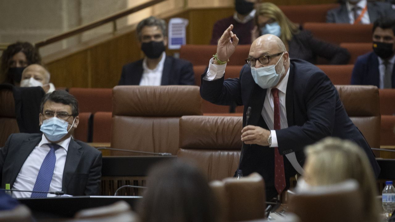 El portavoz de Vox en Andalucía intenta sin éxito tomar la palabra desde su escaño para replicar las acusaciones de Susana Díaz