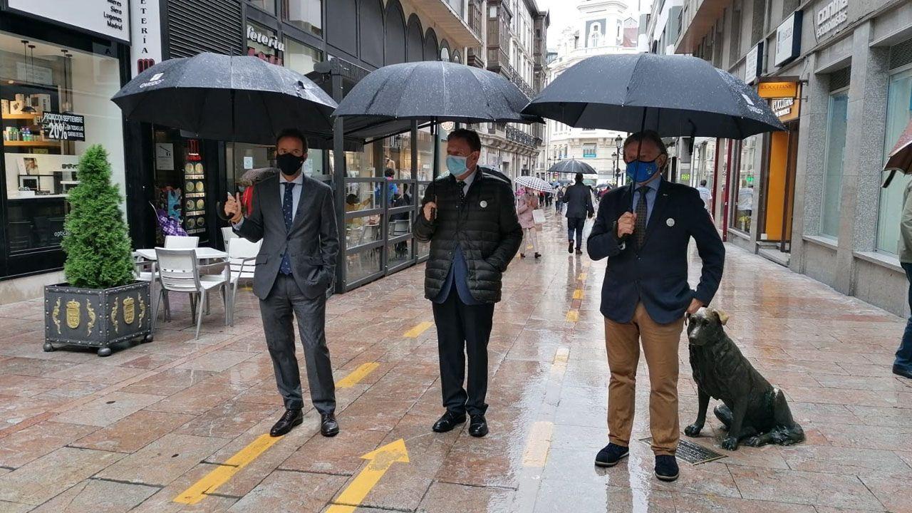 El alcalde de Oviedo, Alfredo Canteli; el concejal de Urbanismo e Infraestructuras, Ignacio Cuesta; y el concejal de Seguridad Ciudadana, José Ramón Prado, visitan los carriles bici que se han habilitado en la ciudad