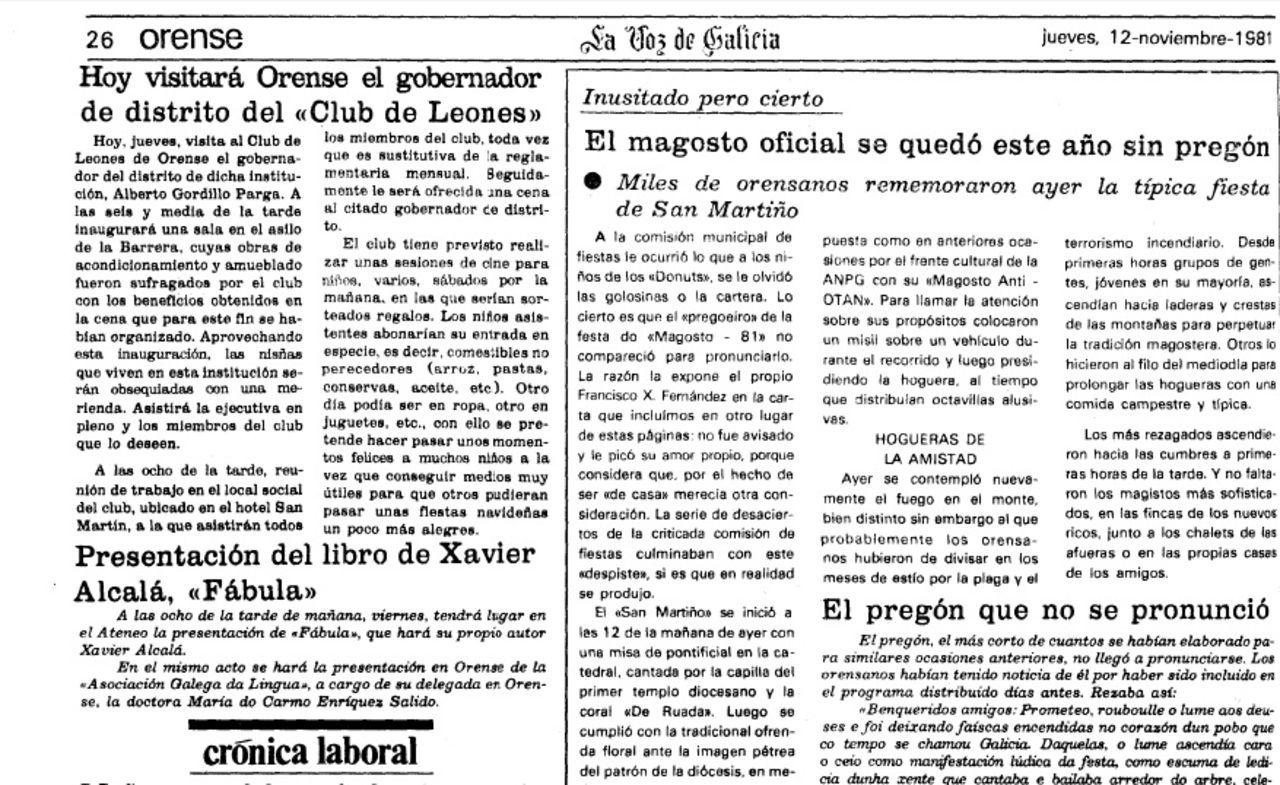 La Voz recogió el 12 de noviembre de 1981 aquel hecho insólito