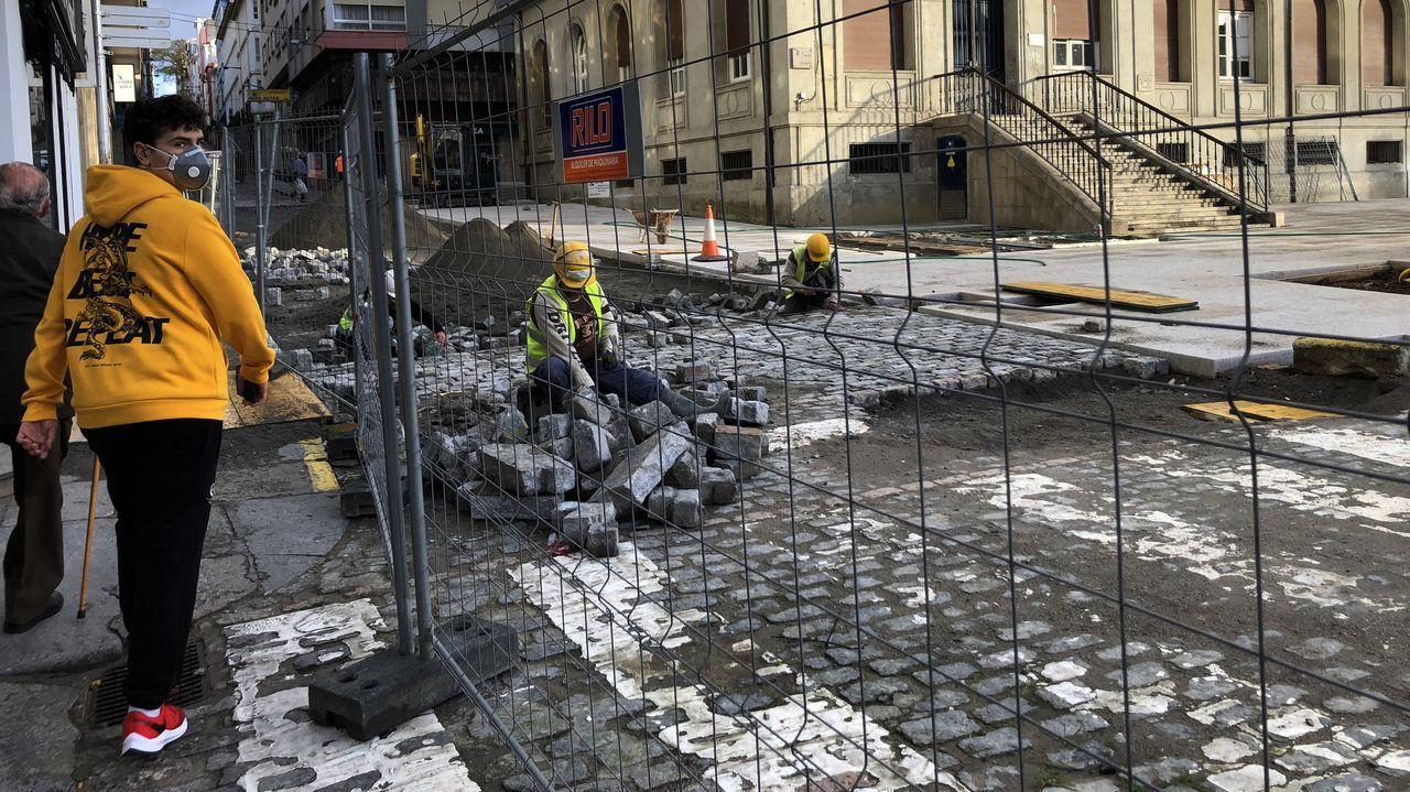 Las obras de la plaza de Armas de Ferrol continúan pese al estado de alarma