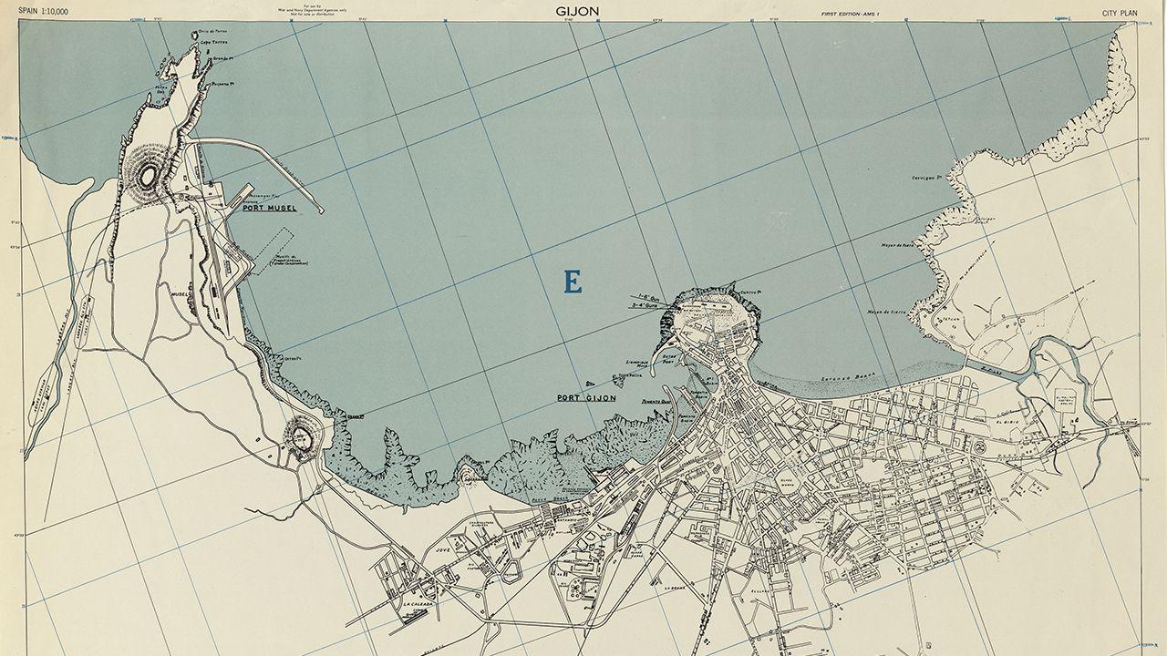 Mapa de Gijón en la Segunda Guerra Mundial