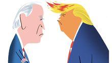Caricaturas de Joe Biden y Donald Trump, aspirantes a la presidencia de Estados Unidos
