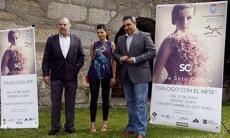 Juan Gil, Eva Soto y Luis Aragunde, ayer durante la presentación del desfile «Diálogo con el arte».