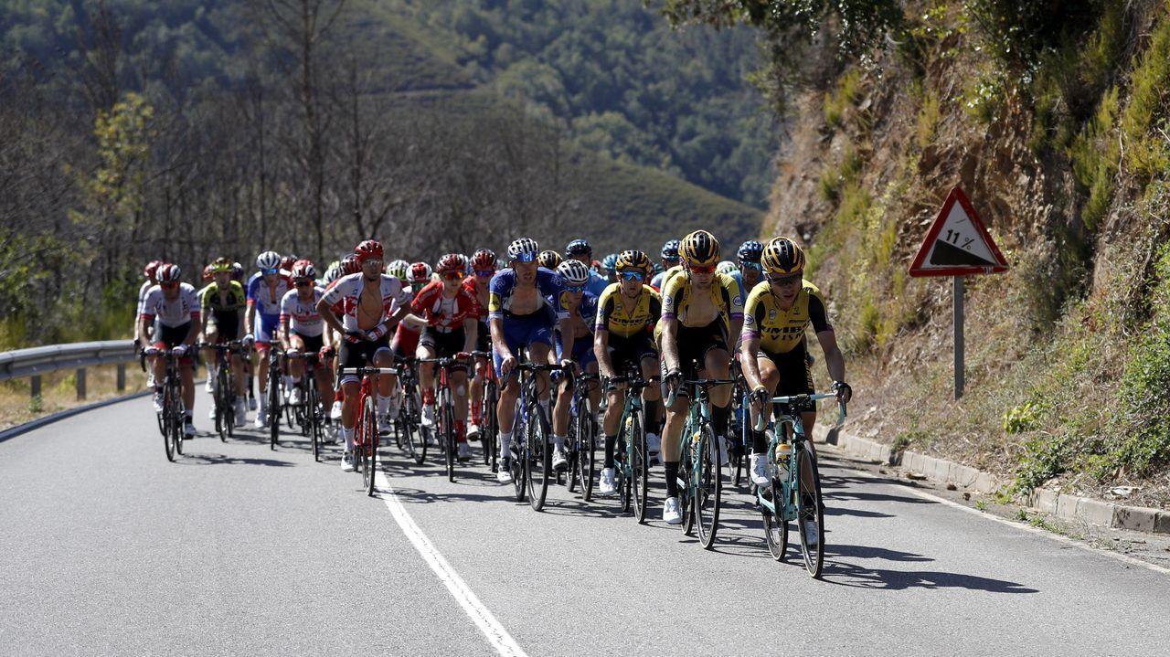 El pelotón ciclista, durante la decimoquinta etapa de la 74 edición de la Vuelta a España 2019, con salida en la localidad de Tineo y meta en el Santuario del Acebo