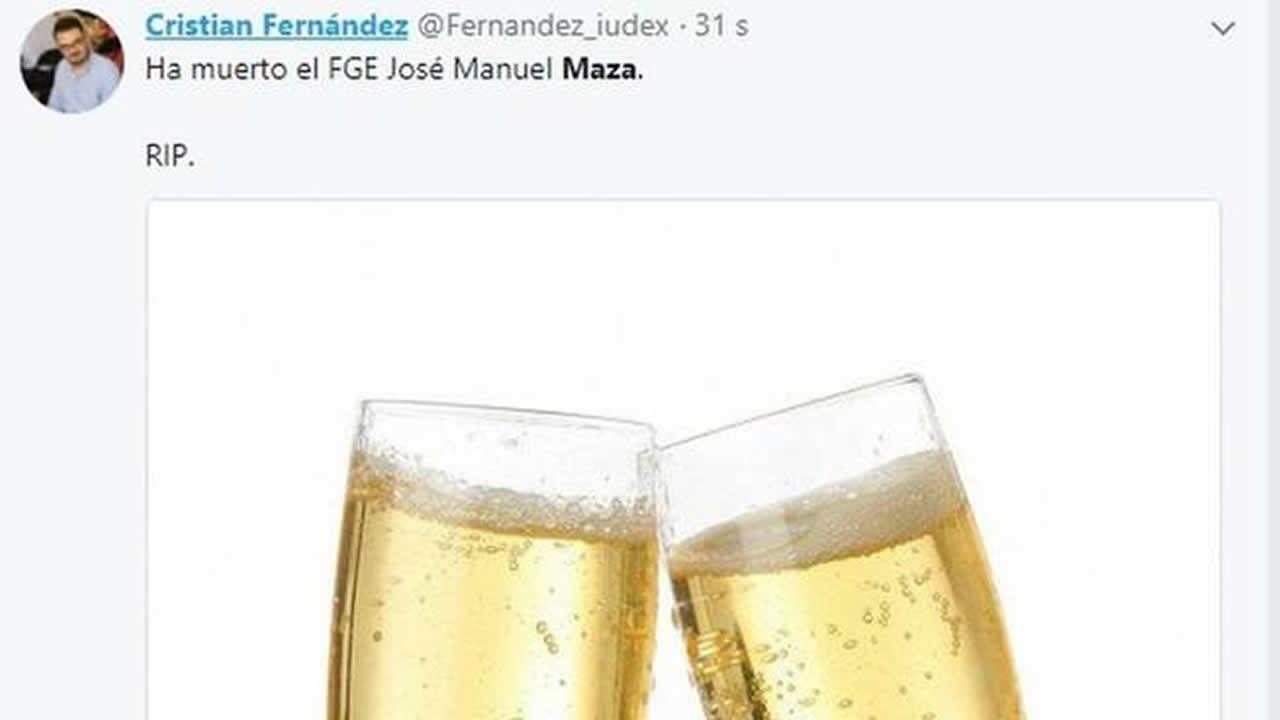 Tuit de Fernández ya eliminado de su cuenta personal