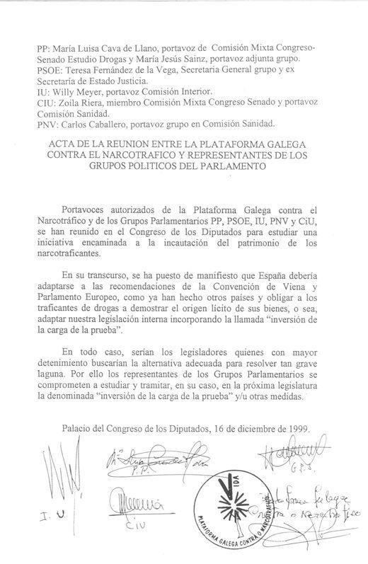 En diciembre de 1999, los grupos políticos, se comprometieron a aprobar la inversión de la carga de la prueba que no se materializó hasta el 2007 por el cambio del Gobierno de Felipe González a José María Aznar.