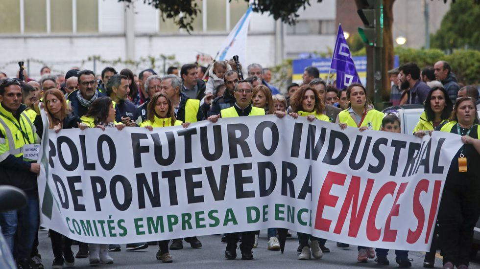 Manifestación de trabajadores de Ence