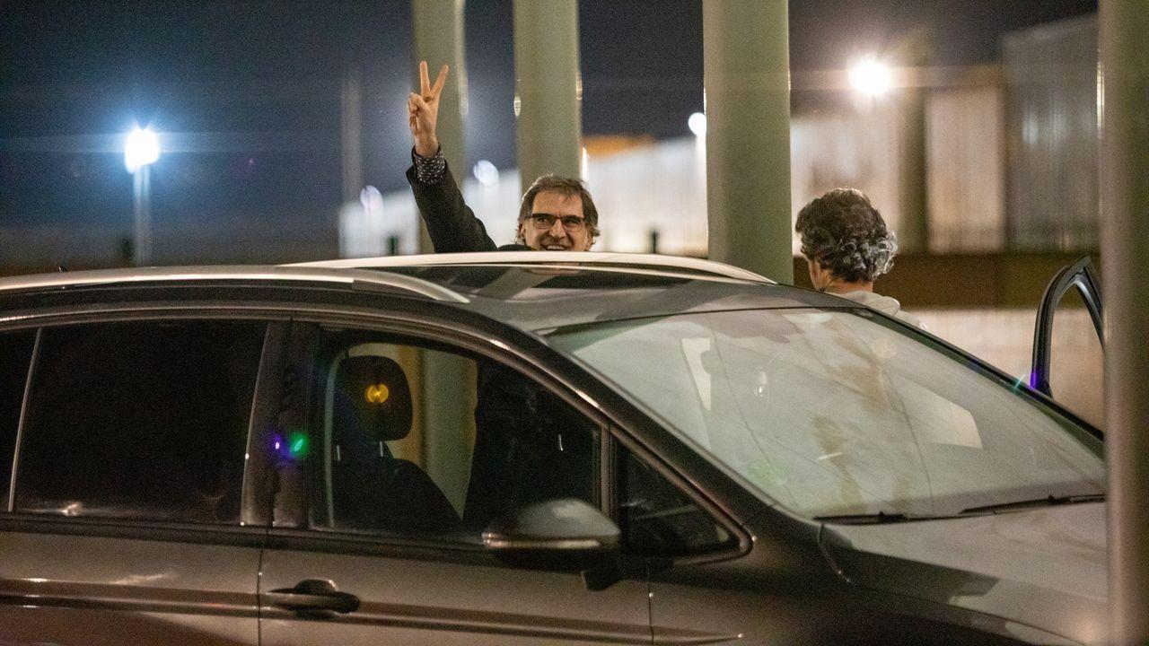 Jordi Cuixart, el 16 de enero, en su primera salida de la prisión de Lledoners con un permiso de 48 horas