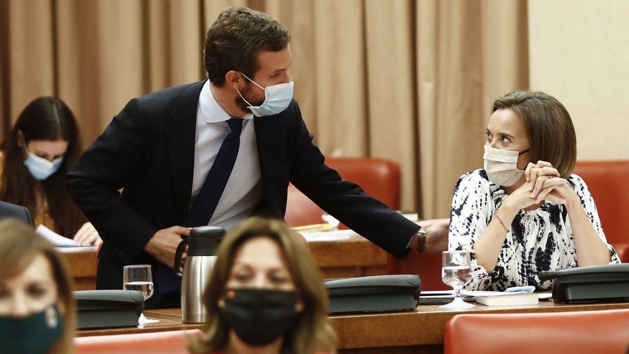 El líder del PP Pablo Casado, y la portavoz del partido en la Cámara Baja, Cuca Gamarra, durante la sesión de la Diputación Permanente