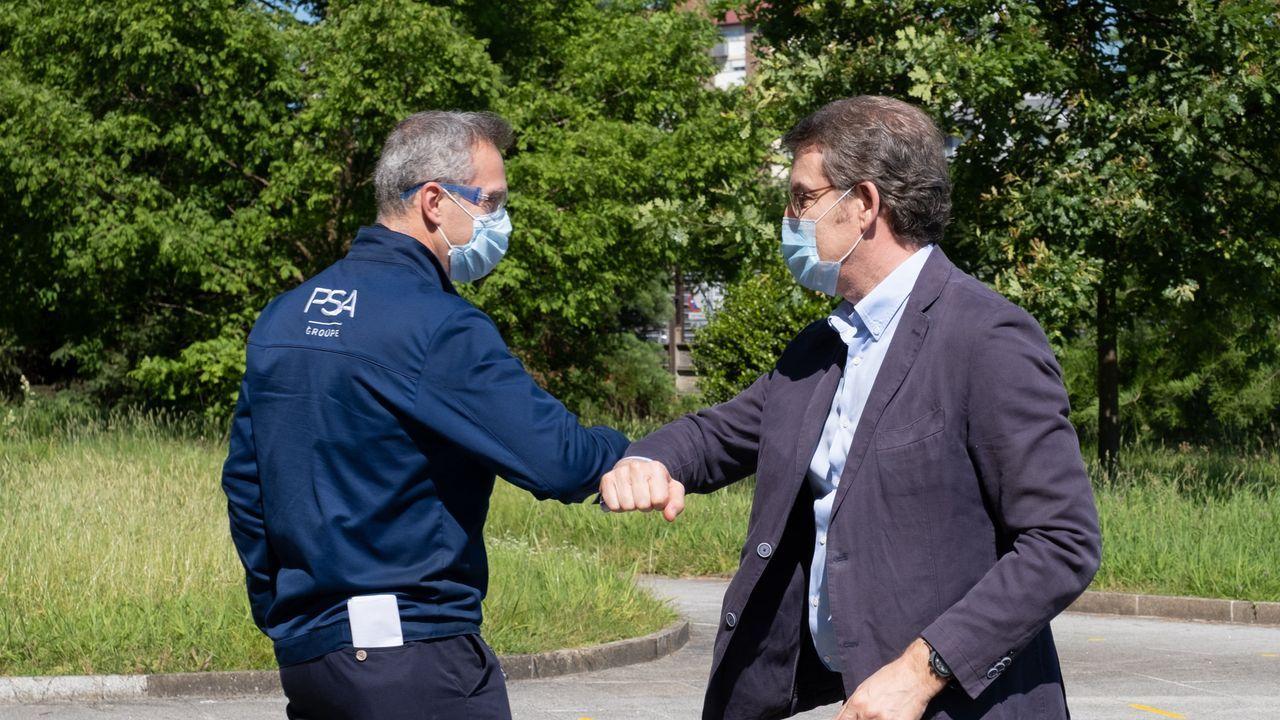 Feijoo visita PSA Vigo tras la vuelta al trabajo después del covid-19.Pedro Sánchez, durante la videoconferencia con los presidentes autonómicos