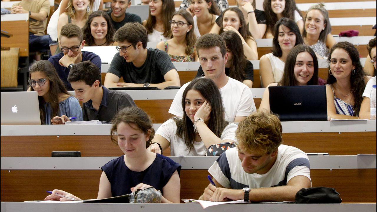 Un estudiante de la Universidad de Oviedo consulta la web en una biblioteca.Un aula de la Facultad de Medicina a comienzos del curso pasado