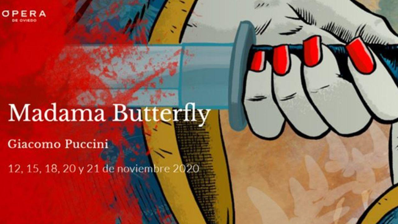 Cartel de la ópera 'Madama Butterfly' en Oviedo.