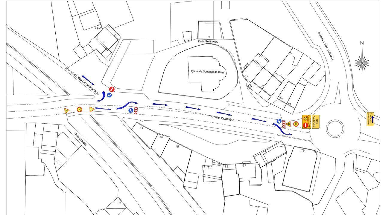 Mapa del desvío provisional del tráfico que se llevará a cabo debido a las obras