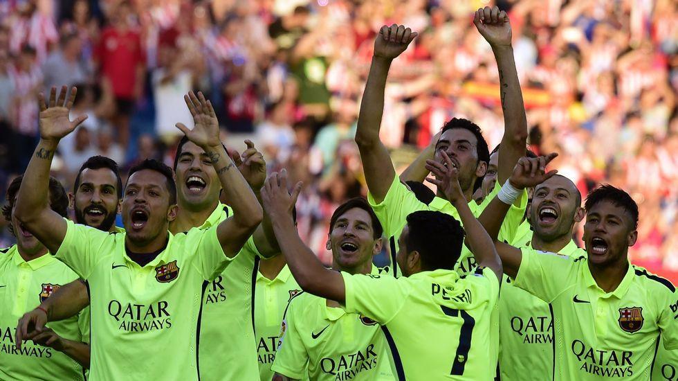 El Barça y sus aficionados celebran el título de Liga.El presidente del Consejo Superior de Deportes, Miguel Cardenal, y el secretario de Estado de Seguridad, Francisco Martínez, durante la rueda de prensa de ayer.