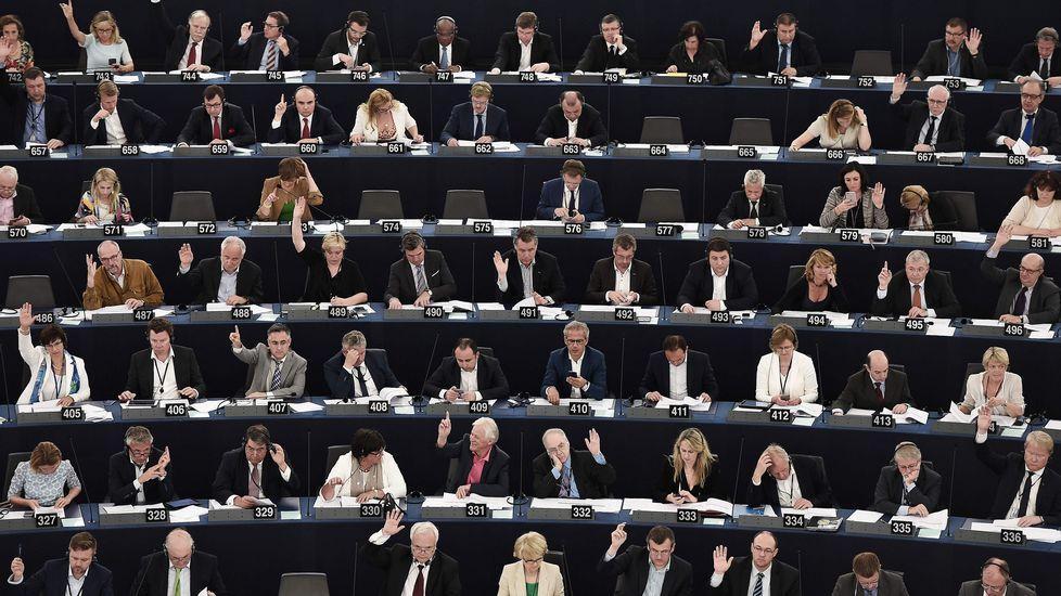 Uno de los vídeos que denuncia el párroco de Tapia.Diputados del Parlamento Europeo en plena votación.