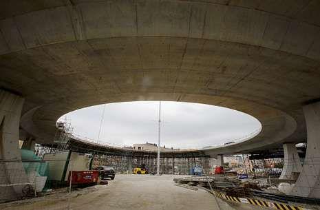Imagen del estado de las obras en el segundo nivel de la glorieta de Sabón.