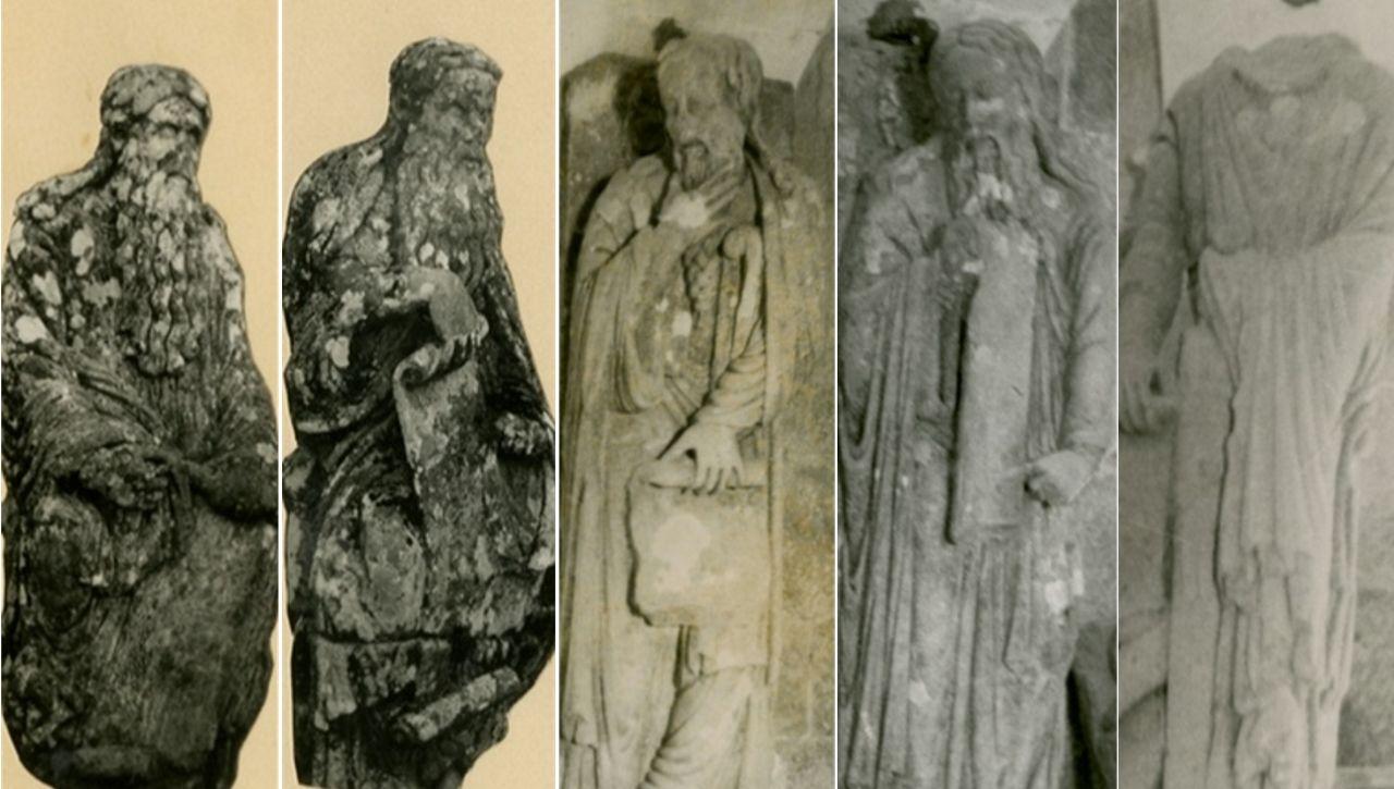 De izquierda a derecha, Jeremías y Ezequiel, hoy en el pazo de Meirás; Elías y Enoc, en el Museo de Pontevedra; y Santiago, en el pazo de Pontemaceira